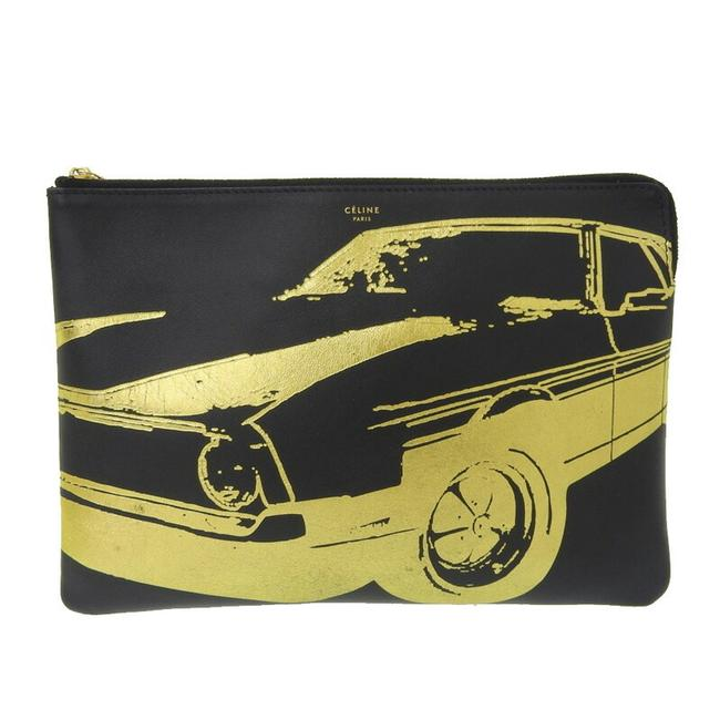 Item - Mustang Print Black / Gold Leather Clutch