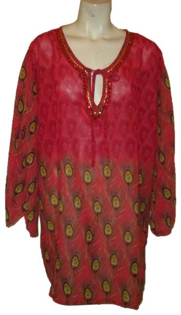 Item - Pink Multi Peacock Feather Print Tunic Cover-up/Sarong Size OS (one size)