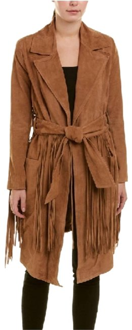 Item - Tan Born In The Fire Fringed Suede Long Jacket Size 12 (L)