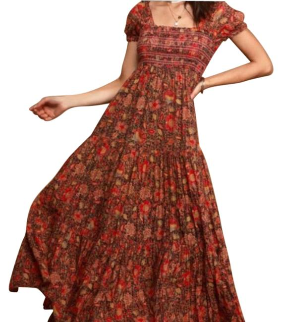 Item - Red Black XS Getaway Floral Tiered Multi Long Casual Maxi Dress Size 2 (XS)