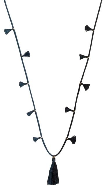 Item - Navy Two Tone Beaded Tassel Necklace
