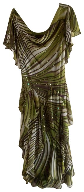 Item - Greens Purple Soft Creamy White and Olive Green with Tones Of Brown Rn109881 # On Tag Mid-length Night Out Dress Size 10 (M)