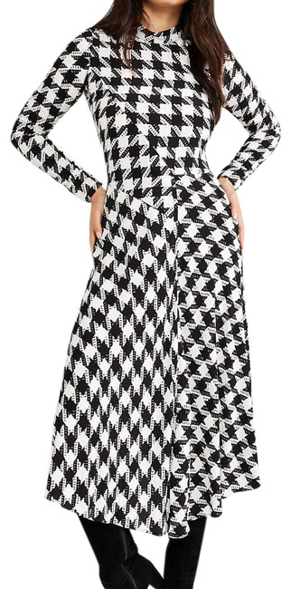 Item - Black and White Houndstooth Mock Neck Mid-length Night Out Dress Size 4 (S)