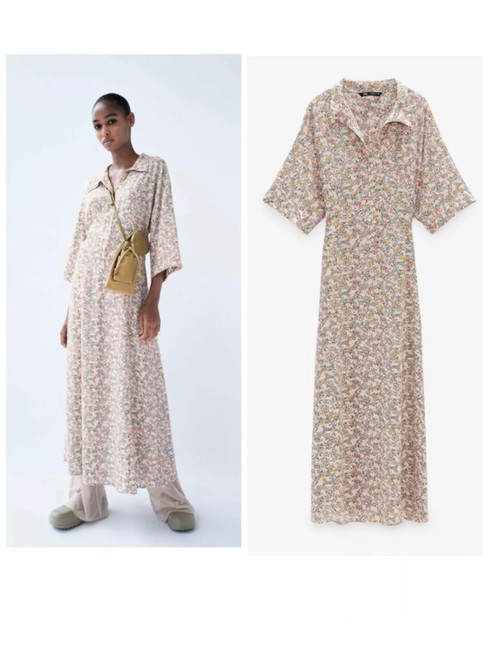 Item - Multicolor XS Floral Printed Shirt Long Casual Maxi Dress Size 2 (XS)