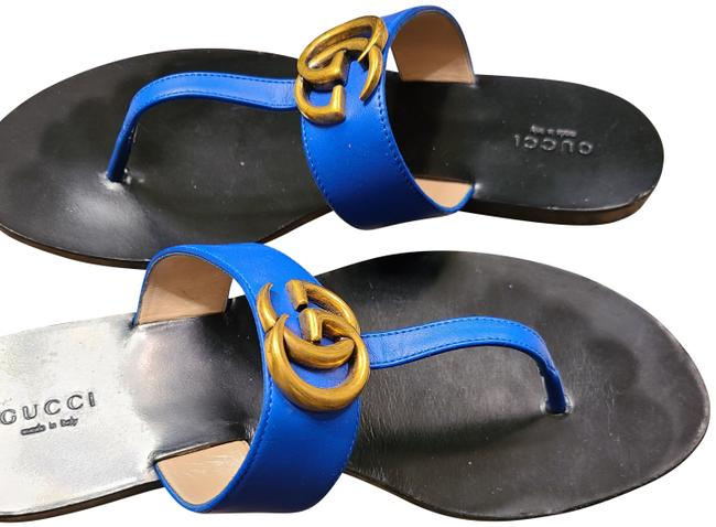 Item - Royal Blue With The Gold Gg On The Top Sandals Size EU 39 (Approx. US 9) Regular (M, B)