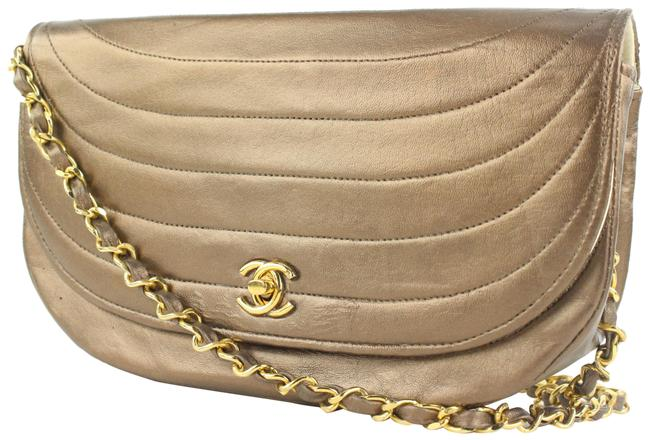 Item - Quilted Moon Flap Chain Bag70cas423 Bronze Lambskin Leather Shoulder Bag