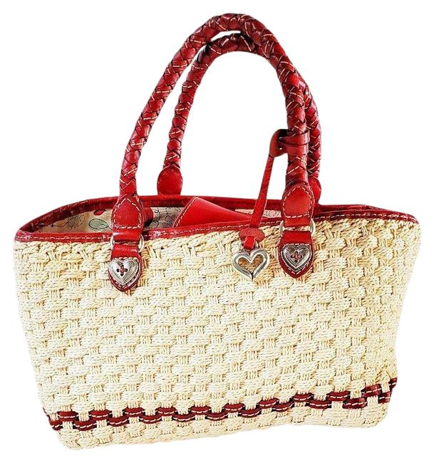 Item - Peggy Cream & Red Straw with Leather Trim Shoulder Bag