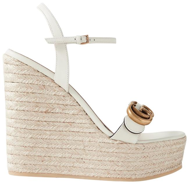 Item - Off-white Aitana Logo-embellished Leather Wedge Espadrille Sandals Size EU 38 (Approx. US 8) Regular (M, B)