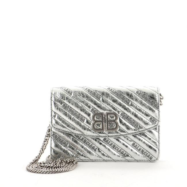 Item - Metallic Silver Bb Chain Embossed Leather Wallet