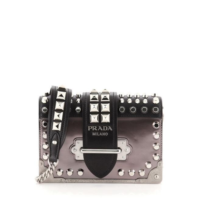 Item - Cahier Studded Patent with Saffiano Small Black Gray Leather Cross Body Bag