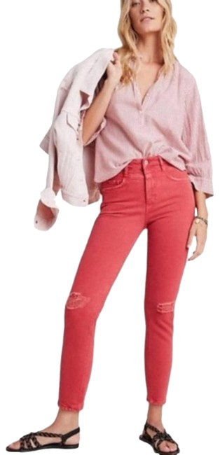 Item - Red Anthro Pilcro Ultra High-rise Slim Skinny Straight Leg Jeans Size 27 (4, S)