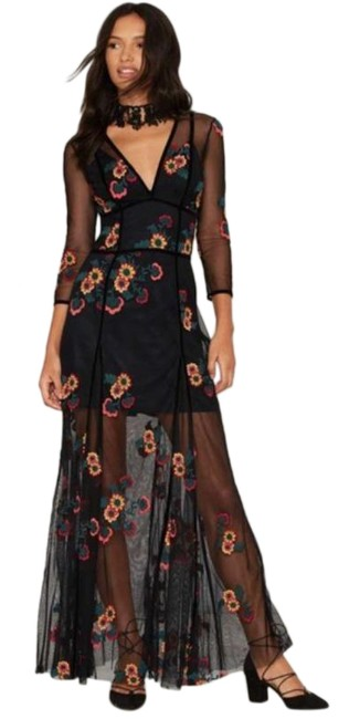 Item - Black Elenora Embroidered Maxi Long Cocktail Dress Size 10 (M)