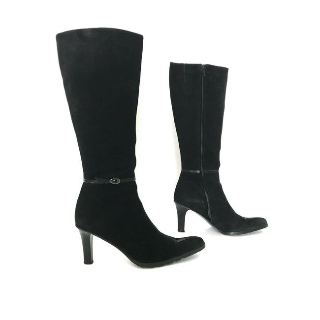 Item - Black Suede Blunt Pointy Toe Tall Dress Made In Italy Boots/Booties Size US 8.5 Regular (M, B)