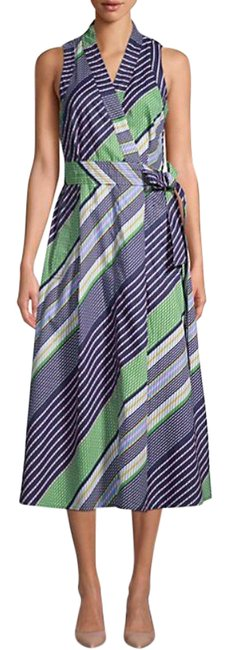 Item - Multicolor Overprinted Sleeveless Wrap Mid-length Work/Office Dress Size 0 (XS)