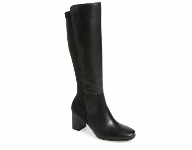 Item - Black Leather Stretch Tall Heeled Boots/Booties Size US 7.5 Regular (M, B)