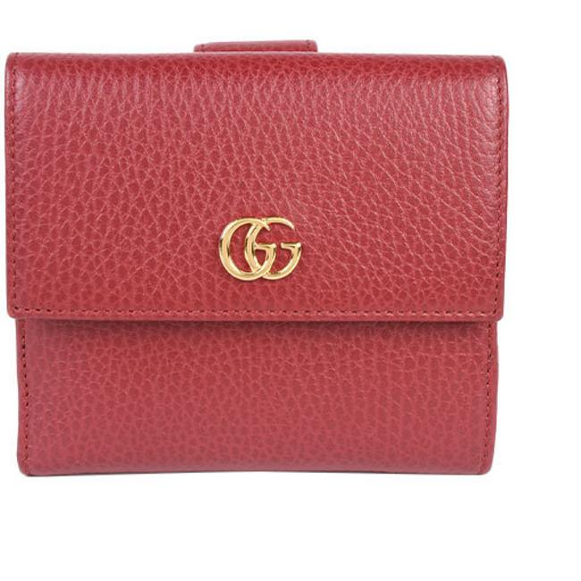 Item - Red Color Marmont Tri-fold French Flap Gg Petit Leather 456122 Wallet