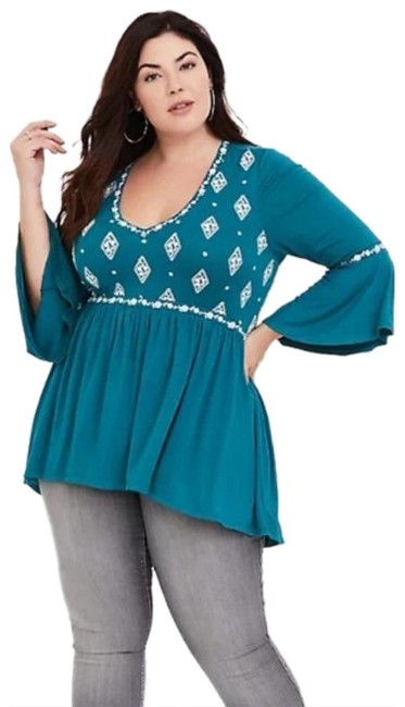 Item - Teal Boho Embroidered Babydoll Blouse Size 16 (XL, Plus 0x)