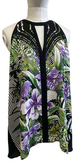 Item - Black Purple Green White High Low Pleated and Floral Tank Top/Cami Size 2 (XS)