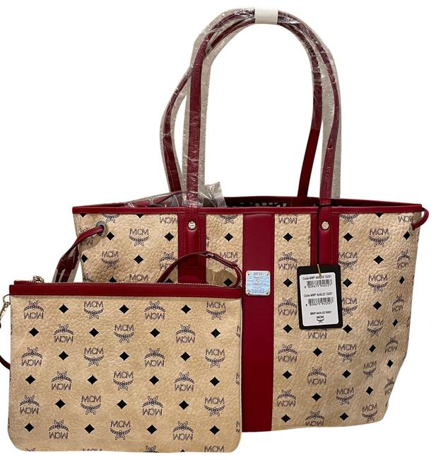 Item - New Medium Liz Shopper with Pouch Beige/Brown Coated Canvas Tote