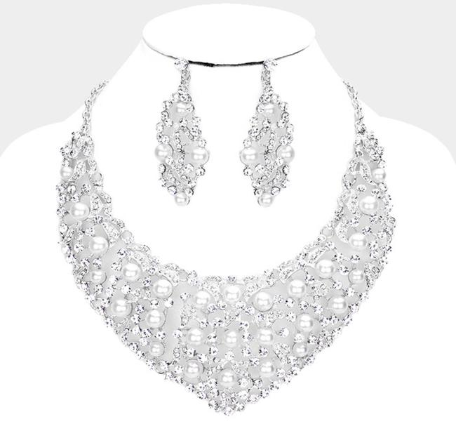 Item - Silver Crystal Rhinestone Pave Pearl Bubble Evening Necklace Jewelry Set