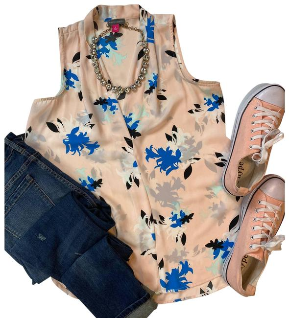 Item - Pink Sleveless Floral Blouse Button-down Top Size 4 (S)