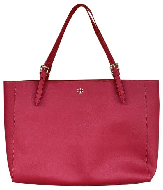 Item - Triple Compartment Red Leather Tote