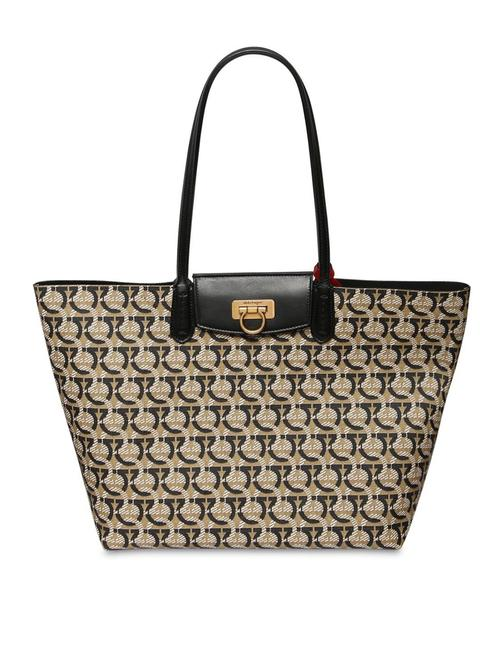 Item - Bag Logo Print Travel Cotton Canvas Brown Leather Tote