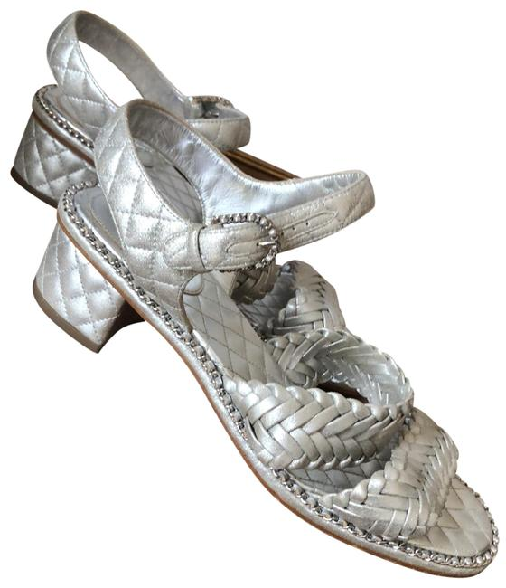 Item - Silver Quilted Block Heel Sandals Size EU 38 (Approx. US 8) Regular (M, B)