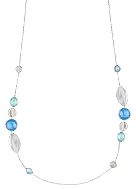 Item - Silver/Multi Stone & Shell Sterling Stone Station Necklace