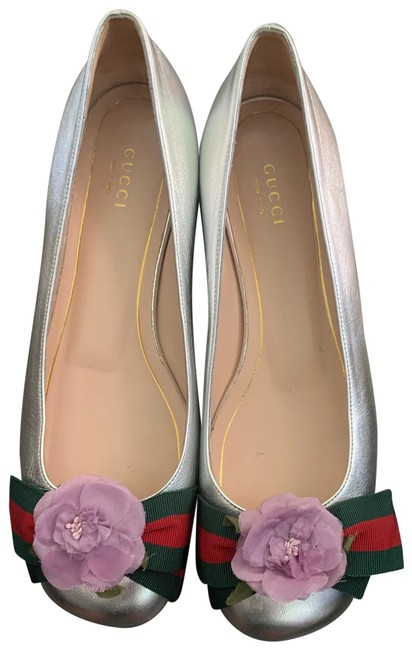 Item - Silver Colors and Blue/Lilac Organza Flower - Flats Size US 9 Regular (M, B)