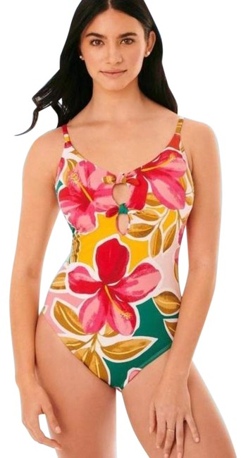 Item - Pink Slimming Control Tie-front Floral Swimsuit Beach Betty One-piece Bathing Suit Size 12 (L)
