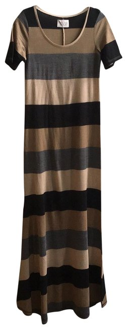 Item - Sand Grey & Black Long Casual Maxi Dress Size 10 (M)