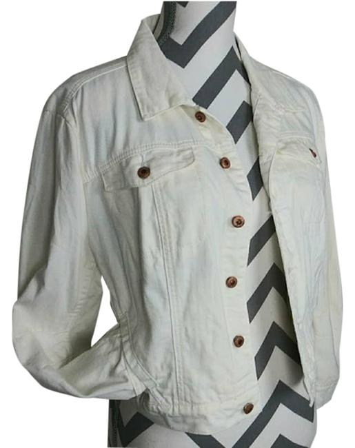 Item - White Fitted Jean Whitelines Jacket Size 6 (S)