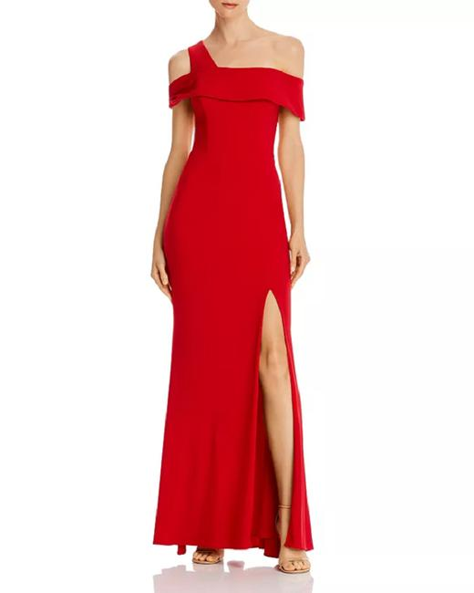 Item - Red Off-the-shoulder Single-strap Gown Long Formal Dress Size 2 (XS)