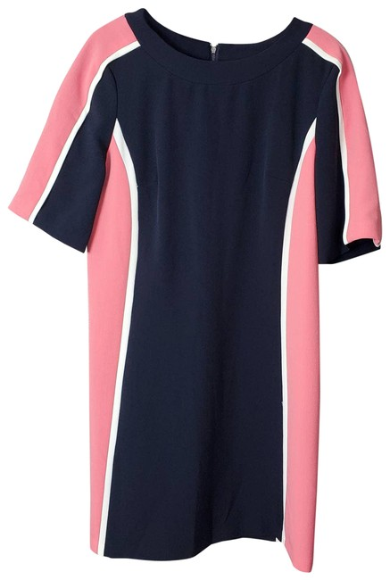 Item - Navy Pink White Color Block Illusion Short Sleeve Mid-length Work/Office Dress Size 6 (S)