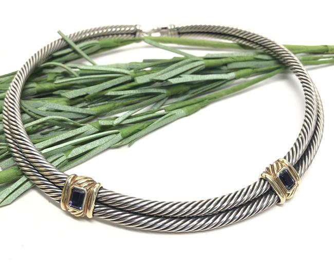 Item - 10mm Double Cable Iolite Choker 925 Silver 14k Gold Necklace