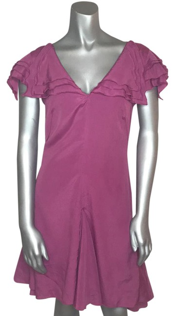 Item - Pink Limited Edition V-neck Ruffled Silky Sailor Purple Mid-length Short Casual Dress Size 4 (S)