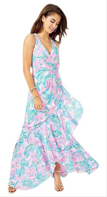 Item - Pink Taylee Flounce Long Casual Maxi Dress Size 00 (XXS)