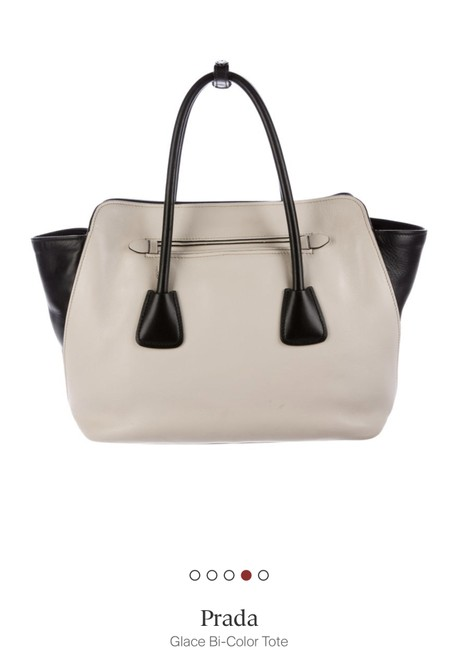 Item - Gauffre Glacé Tote Black and White Leather Shoulder Bag