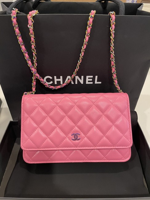 Item - Wallet on Chain Quilted Rainbow Woc Pink/Yellow Lambskin Leather Cross Body Bag