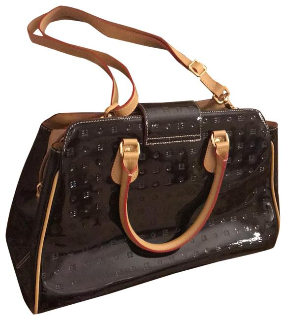 Item - Shoulder Bag New-monogram Large -made In Italy Black with Beige Leather Trim Patent Satchel