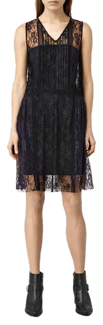 Item - Black and Purple Sheer Lace V-neck Lara Mid-length Night Out Dress Size 6 (S)