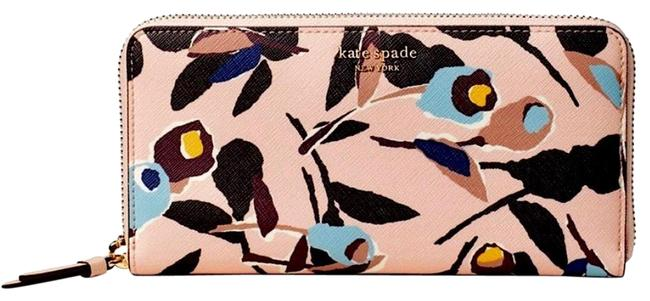 Item - Pink Blue Multi Saffiano Leather Large Continental Cameron Paper Rose Colored Floral Zipper (673); Style # Wlru5622 Wallet