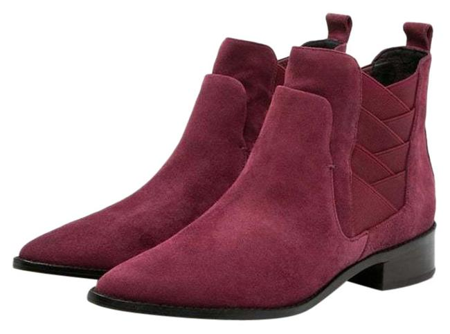 Item - Burgundy Jacy Suede Leather Pointed Toe Ankle Boots/Booties Size US 7.5 Regular (M, B)