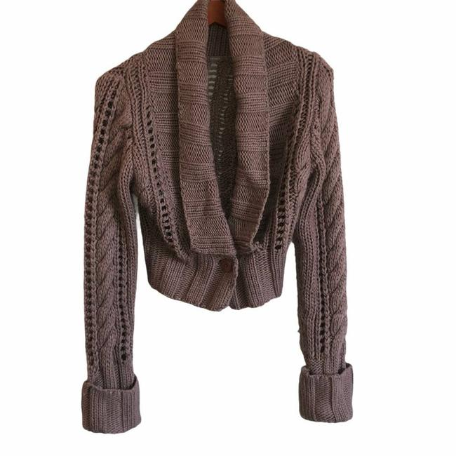 Item - Brown Wool Blend Chunky Knit Cropped Cardigan Size 8 (M)