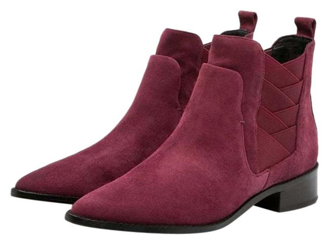 Item - Burgundy Jacy Suede Leather Pointed Toe Ankle Boots/Booties Size US 7 Regular (M, B)