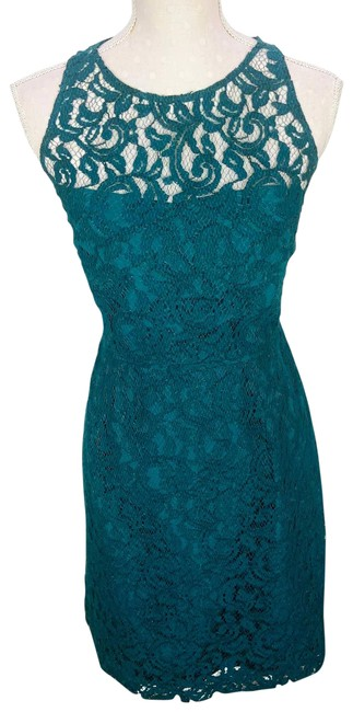 Item - Green Lace Teal Womens Sleeveless Sheath Mid-length Cocktail Dress Size 12 (L)