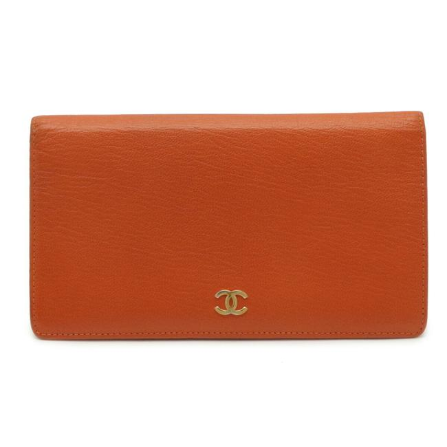 Item - Orange Coco Mark Bi-fold Leather Gold Metal Fittings Wallet