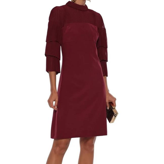 Item - Red Pleated Georgette Silk Mid-length Night Out Dress Size 6 (S)