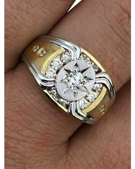 Item - Gold Silver 14k 925 Super Iced Star Size Man Made Diamond Ring